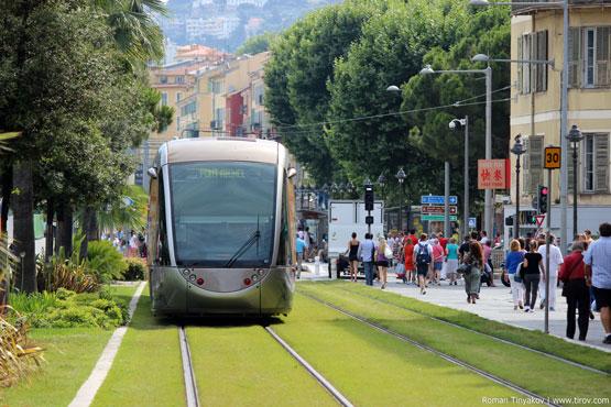 Трамвай на газоне