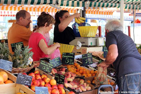Цены на фрукты в Ницце