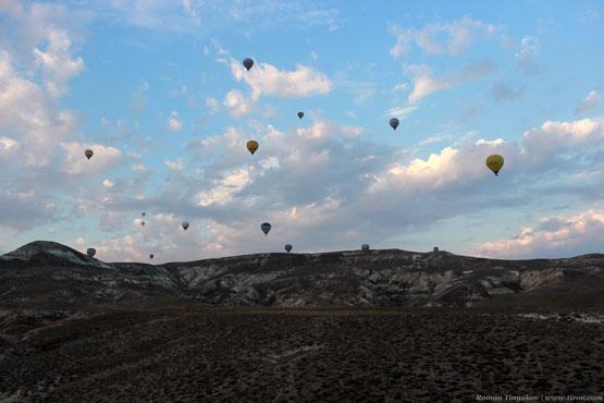 Вид с воздушного шара, заходящего на посадку