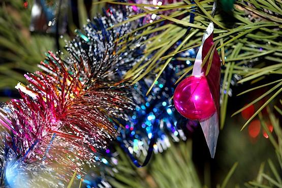 Стеклянный шарик на новогодней ёлке