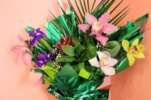 Букет разноцветных орхидей