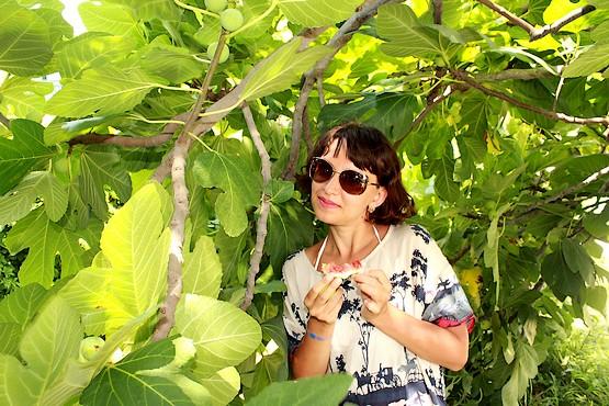 Таня с инжиром в руках под смоковницей