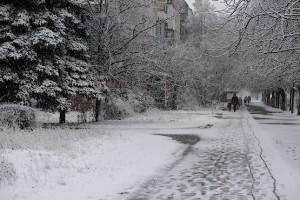 Улица Комарова постепенно покрывается снегом