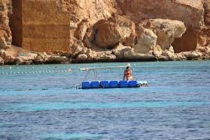 Девушка загорает на понтоне в Красном море