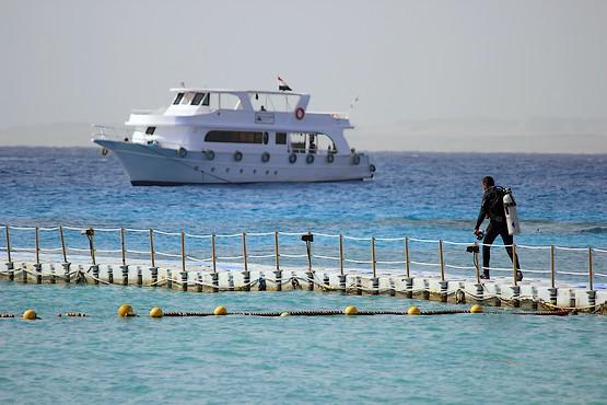 По пирсу отеля Reef Oasis Beach Resort 5* к морю