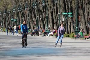 На роликах и велосипедах в парке отдыха