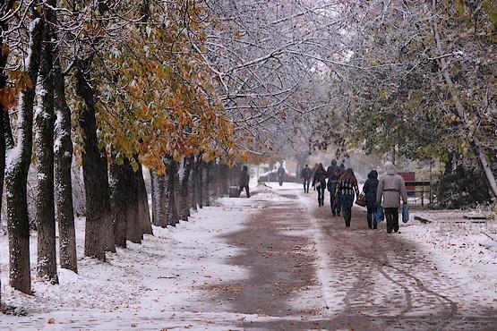 По снежной улице в октябре