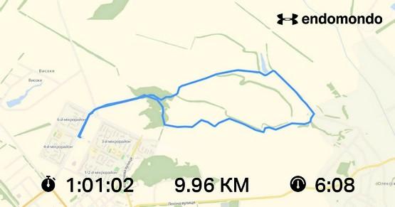 """Скриншот маршрута """"Шиншиллы"""" из приложения endomondo"""