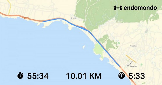 Скин приложения с маршрутом пробежки на 10 км