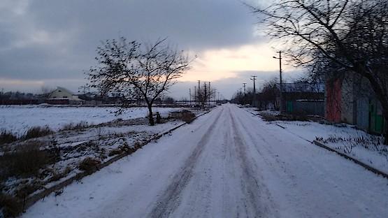 Бег на закате дня зимой