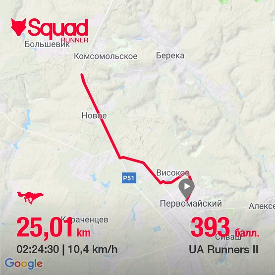 Маршрут и статистика пробежки на 25 км