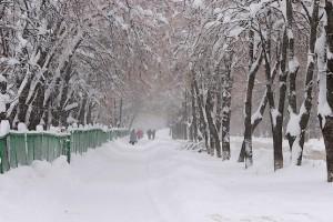 Зимний снежный городской пейзаж