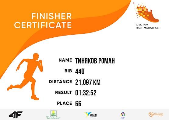 Сертификат финишера Kharkiv Half Marathon 2019