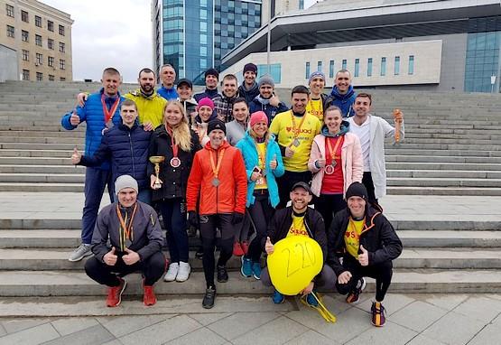 Командное фото Squad Ua Runners после финиша на полумарафоне в Харькове 2019