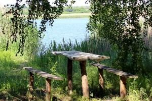 Стол со скамейками у водоема