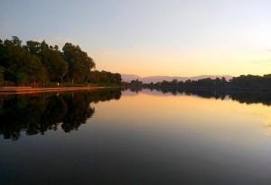Озеро у хвойного бора в Турции