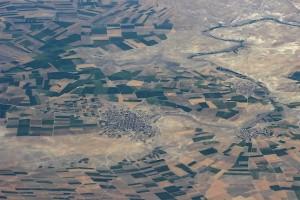 Вид из иллюминатора самолёта как картина